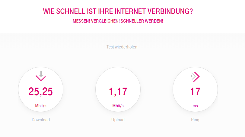 Speedtest bei t-online.de