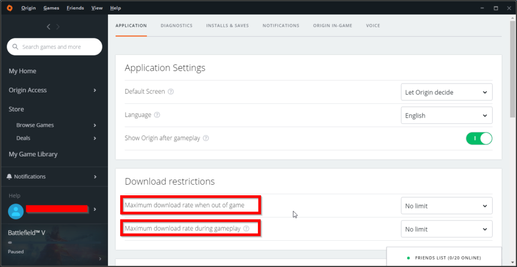 Origin Application Settings for Download Restrictions