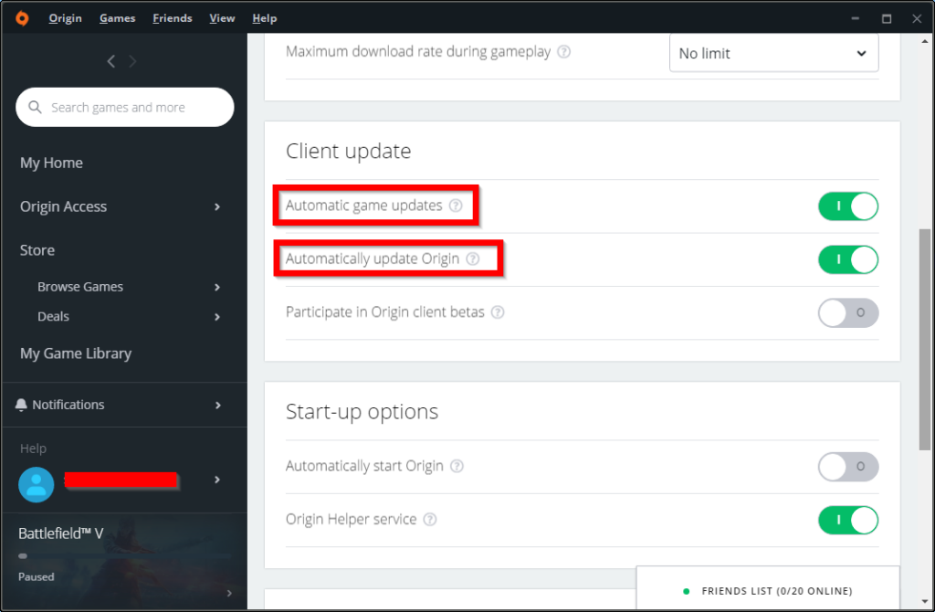Origin Application Settings for Client update