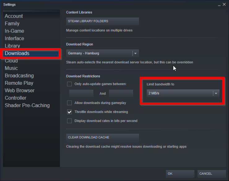 Steam Settings: Limit bandwidth to